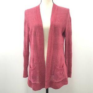Talbots EUC Long Cardigan Size Sp 100% Linen Red